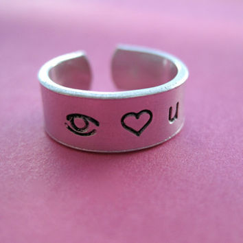 Personalized Ring - I love you - Skinny Band