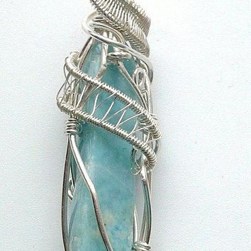 Larimar Pendant Sterling Silver Wire Wrap, Wire Jewelry,  Wire Wrap Jewelry, Sterling Silver Pendant, Energy Pendant, Female Shaman