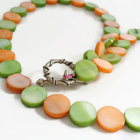 Simple Beaded Necklace, Orange and Green Mother of Pearl, Single Strand, 18 inch