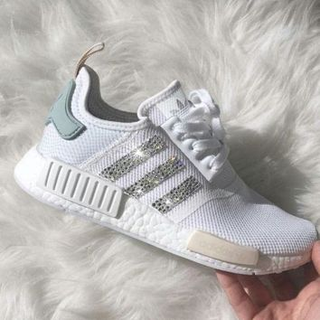 Adidas Fashion Trending NMD individuality Sequins Fashion Trending Women  Leisure Running Sports Shoes White G a88e67f4876b