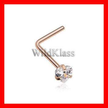 Rose Gold Heart Prong Set Gem Top L-Shaped Nose Ring