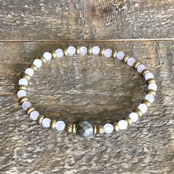 "Rose Quartz and Pyrite Fine Faceted ""Healing and Confidence"" Bracelet"