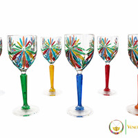 Murano Crystal Glass White Wine Set - Rainbow Design