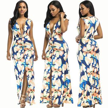 Flower Print Deep V-neck Sleeveless Split Long Dress