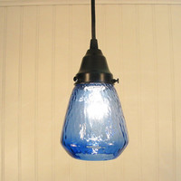 Blue Hill Transparent Blue PENDANT Light by LampGoods on Etsy