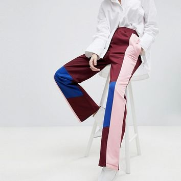 ASOS Track Pant Trousers with Colour Block Detail at asos.com