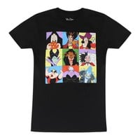 Disney Nine Box Full Color Villains Characters Women's Black T-shirt