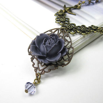 Lilac Victorian Style Necklace, Romantic Jewelry, Resin Rose Cabochon, Floral Jewelry Designs, Gifts for Women, African Violet