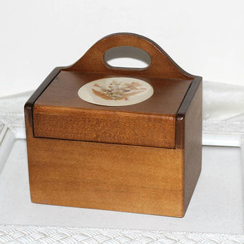 "Vintage Wooden Recipe Box Brown Handcrafted Signed by Artist ""BK Designs"" 