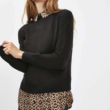 Leopard Collar Hybrid Jumper - New In This Week - New In