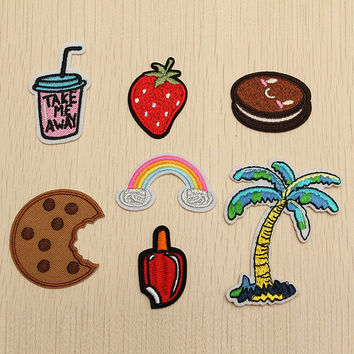 7Pcs Plant Fruit Sew Iron on Patch for Jeans Jacket Embroidered Applique Badge Cute Patch for Clothing Fabric Apparel DIY Decor