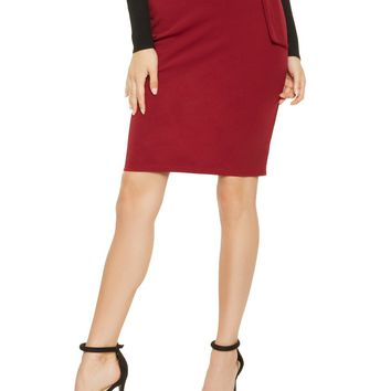 High Waist Belted Paperbag Midi Skirt in Burgundy