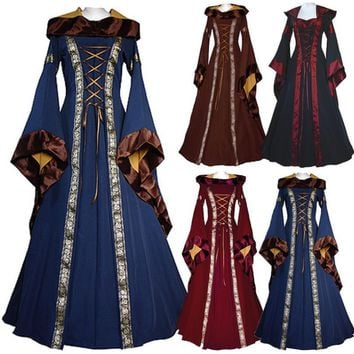 Game of Thrones Women Victorian Medieval Dress Gothic Long  Costume Hooded
