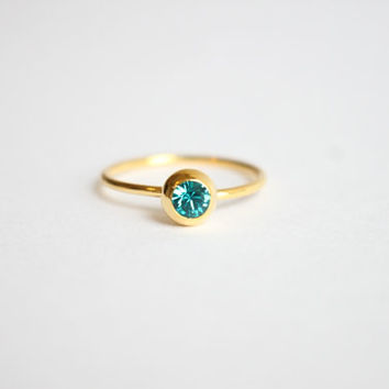 Emerald green Swarovski Crystal 18k gold ring, simple, tiny, gem, birthstone of May, birthday gift, friendship