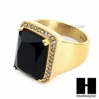 MEN ICED OUT RING 316L STAINLESS STEEL GOLD BLACK ONYX CZ RING SIZE 8-12 SR015BK