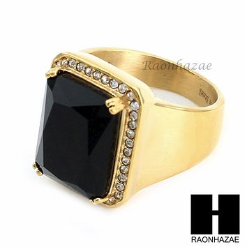 MEN RING 316L STAINLESS STEEL GOLD BLACK ONYX CZ RING SIZE 8-12 SR015BK