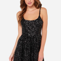 Give Me a Glint Black Sequin Dress