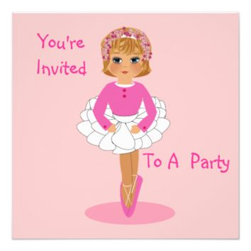 Cute Pink Ballerina Party Invitations