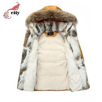Natural Rabbit Fur Liner Woman Man Couple Down Parkas ,2017 New Fur Hooded Thick Cotton Coat ,Super Warm Winter Jackets