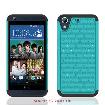 HTC Desire 626 Case, Crystal Rhinestone Slim Hybrid Dual Layer Case Cover for Desire 626 - Teal/Black