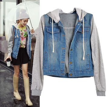 Shop Jean Jacket Hoodie on Wanelo