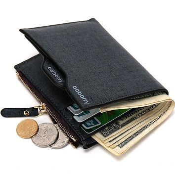 Hot Fashion men wallets Bifold Wallet ID Card holder Coin Purse Pockets Clutch with zipper Men Wallet With Coin Bag Gift