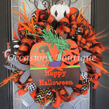 Halloween Wreath, Halloween Door Hanger, Fall Wreath, Front door wreath, Large Wreath, Deco Mesh Wreath, Wreath for Door