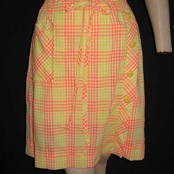 Mod Vintage Orange Sherbert Mini Scooter Skirt Built in Shorts Button Detail