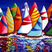 Colorful Sailboats Whimsical Folk Art by reniebritenbucher on Etsy