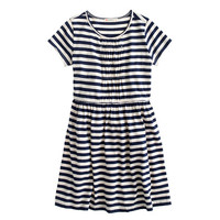 crewcuts Girls Ruched Tee Dress In Stripe