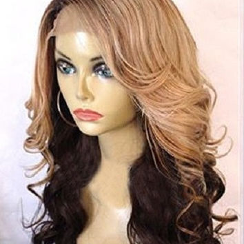 Three Tone Ombre Big Wavy Brazilian Glueless Ombre U Part Wig Human Hair Wig