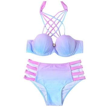 Women Lace-Up Hollow Out Gradient Bikini Set Underwire Padded Micro-elastic Halter Swimsuits Female Sexy Seashell Bikini Suits