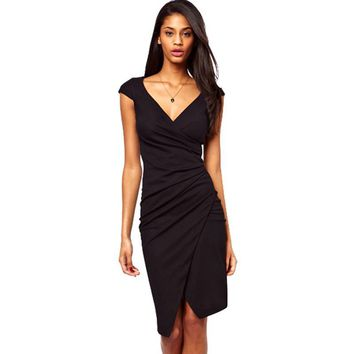 Elegant Charming Knee Length Cap Sleeve Women's Sexy V Neck Bodycon Club Wear Wrap Pencil Dress Casual Sheath Black Dresses G728