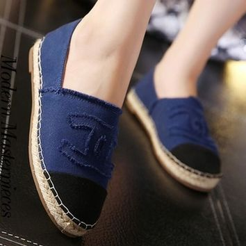 """Chanel"" Fashion Espadrilles For Women shoes Dark blue"