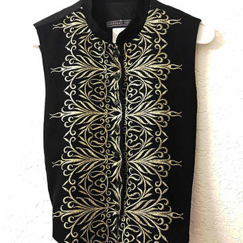 Vtg HERMAN GEIST Black Vest / Gold Art Deco Embroidery / Eastern Style Wool and Rayon Button Down Vest / Metallic Gold Art Nouveau Design