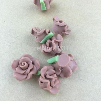 Free Shipping 30pcs Brown Polymer Fimo Rose Shape beads Clay Spacer Beads 15mm For Jewelry Making Craft DIY