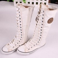 Adult Fashion Converse Inspired Canvas Lace Up Boots