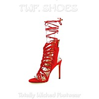 "So Me Lucy Strappy Knotted Detail 4.5"" High Heel Shoe Red Vegan Suede"