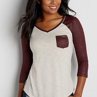 baseball tee with chest pocket and shimmer sleeves | maurices
