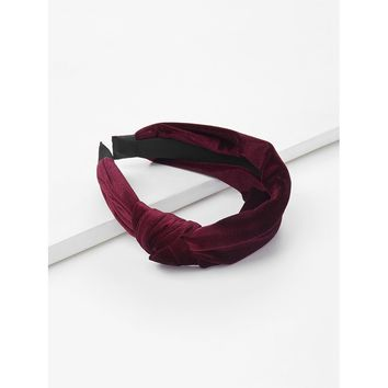 Knot Design Velvet Headband Burgundy