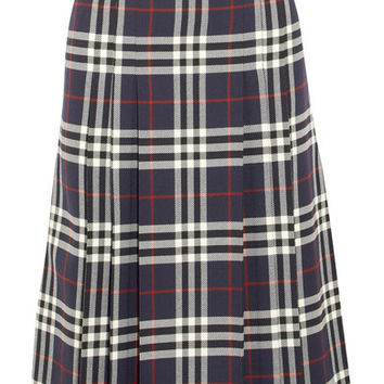 Burberry - Pleated checked wool midi skirt