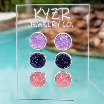 Druzy earring set- Navy/ Pink and Lilac drusy stud set