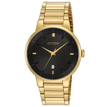 Citizen Quartz Mens Watch - Black Dial - Gold Tone Steel Case & Bracelet - Date