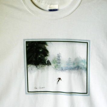 Snow Skier TShirt:  Long-sleeve 100% preshrunk cotton shirt; reproduced from my ORIGINAL Watercolor painting