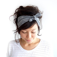 Tie Up Headscarf Grey Tribal