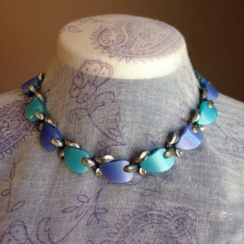 Rare Blue Leaf Choker Necklace Signed Claudette, Thermo-Plastic- Vintage 1950's