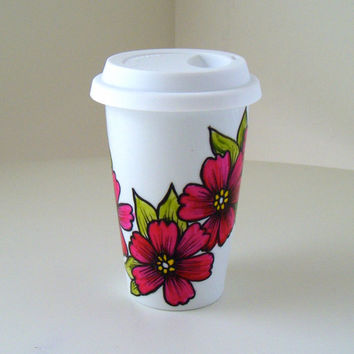 Ceramic Travel Mug Pink Flowers Cherry Blossoms Asian Eco Friendly Folk Painted by sewZinski on Etsy