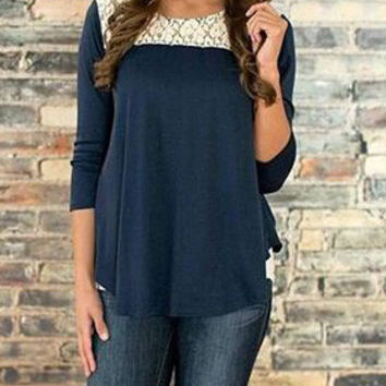 Navy Cut Out Backless Lace T-Shirts