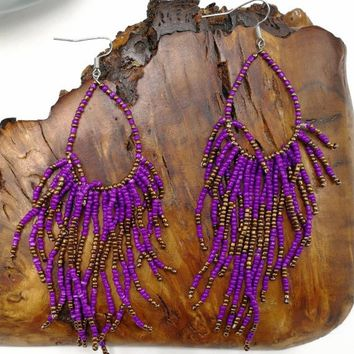 Boho Gypsy Cowgirl Huge Bright Purple Beaded Tassel Dangles, Exotic Boho Tribal Fringe Native Seed Bead Sexy Earrings
