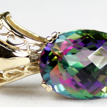 P050, 12ct Mystic Fire Topaz, 14KY Gold Pendant for Slides or Chains